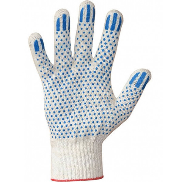Перчатки хлопчатобумажные 10 класс 6 нитей ПВХ точка
